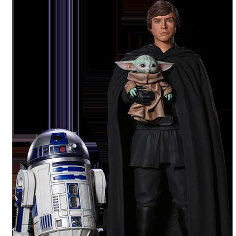 Pre-order Sideshow Statue by Iron Studios: Luke Skywalker, R2-D2 & Grogu ($1350.00)
